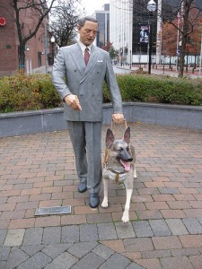 "The statue of Frank Morris and his Seeing Eye dog in Morristown, NJ, by Flickr user ""Dougtone"", licensed by Creative Commons"