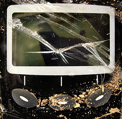 "A broken phone screen, by Flickr user ""zen"", licensed via Creative Commons"