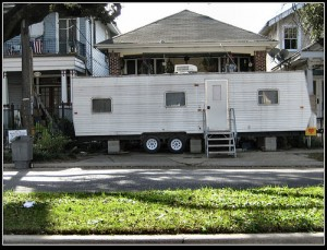 "FEMA trailer, by Flickr user ""KrisFricke"", licensed via Creative Commons"