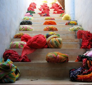 "Turbans on a staircase, by Flickr user ""lamentables"", licensed via Creative Commons."