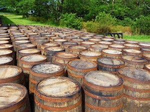 Bourbon casks at Laphroaig, by user John Allan, licensed by Creative Commons