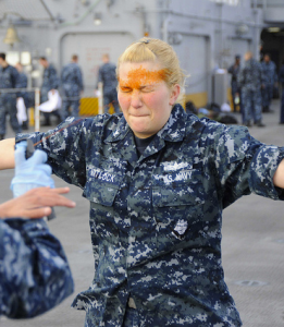 Sailor receives pepper spray training by Flickr user Official U.S. Navy Imagery, licensed by Creative Commons