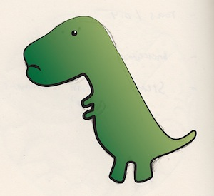 sad t-rex by Flickr user iJammin, licensed by Creative Commons