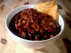 Bowl of chili, by Wikimedia user Carstor, licensed by Creative Commons