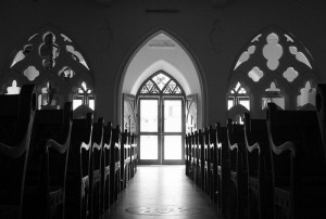 play of light in santhome church by flickr user VinothChandar, licensed by Creative Commons.