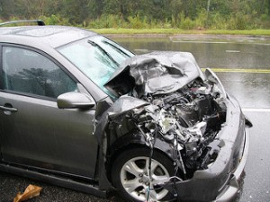 Crashed Toyota Matrix, by Wikimedia user W. Robert Howell, licensed by Creative Commons.