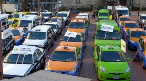 Picture of taxis, by Flickr user Aaron Parecki, licensed by Creative Commons.